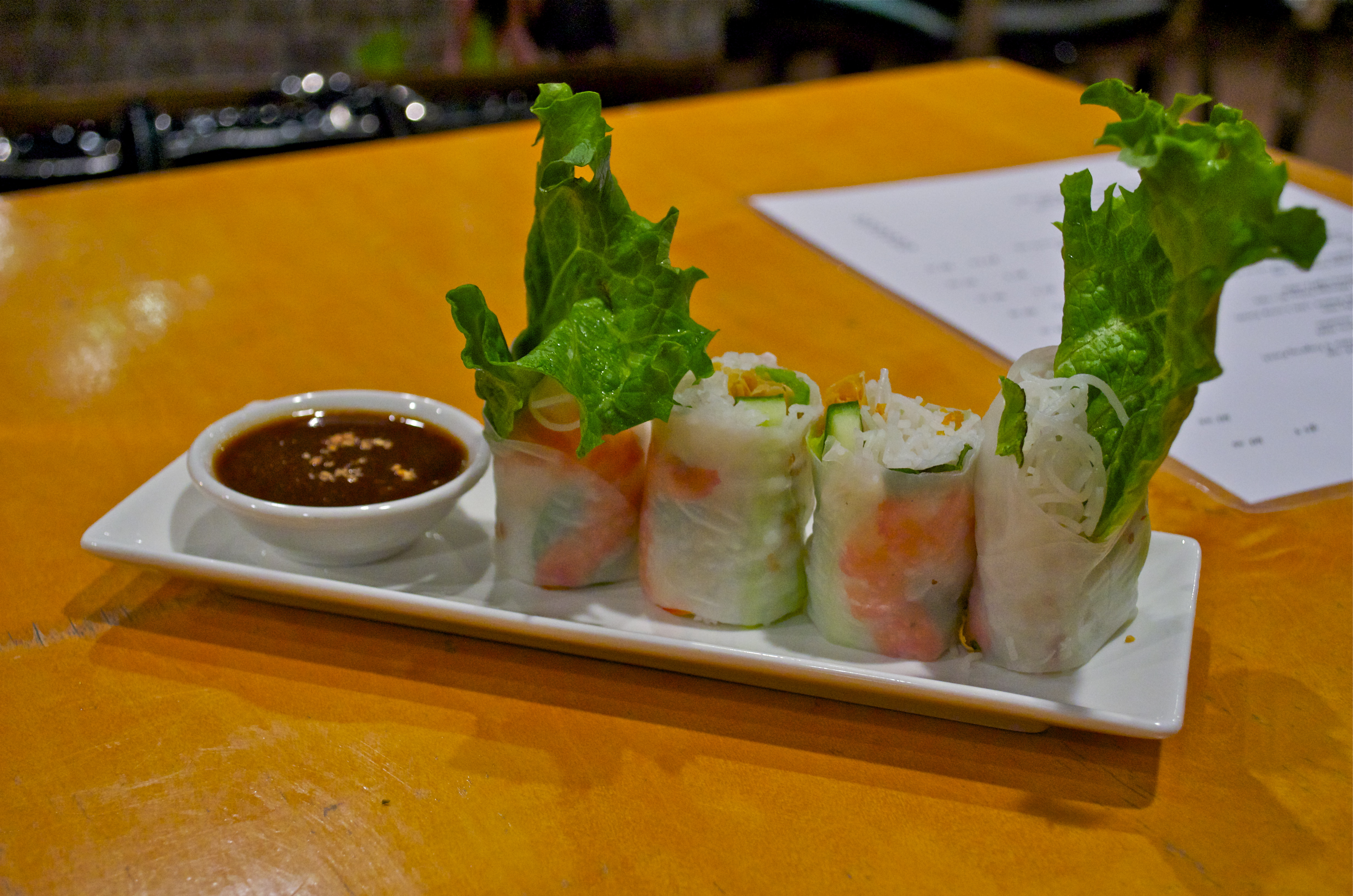 We Started Our Meal With The Prawn Thai Basil Rice Paper Roll It Had Cuber Vermicelli Lettuce Crispy Shallots And Of Course Prawns