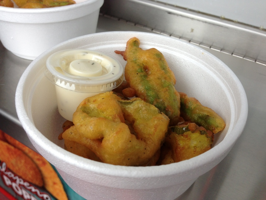 deep fried pickles and green beans