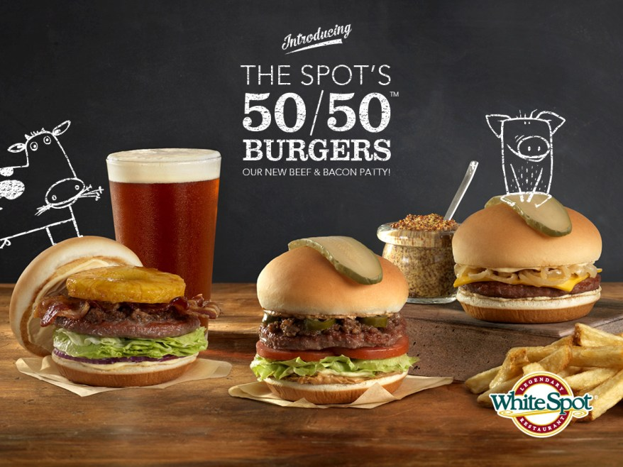 White Spot's new 50/50 burger lineup features a 1/3-pound patty that combines Canadian beef & premium double-smoked bacon. (CNW Group/White Spot)