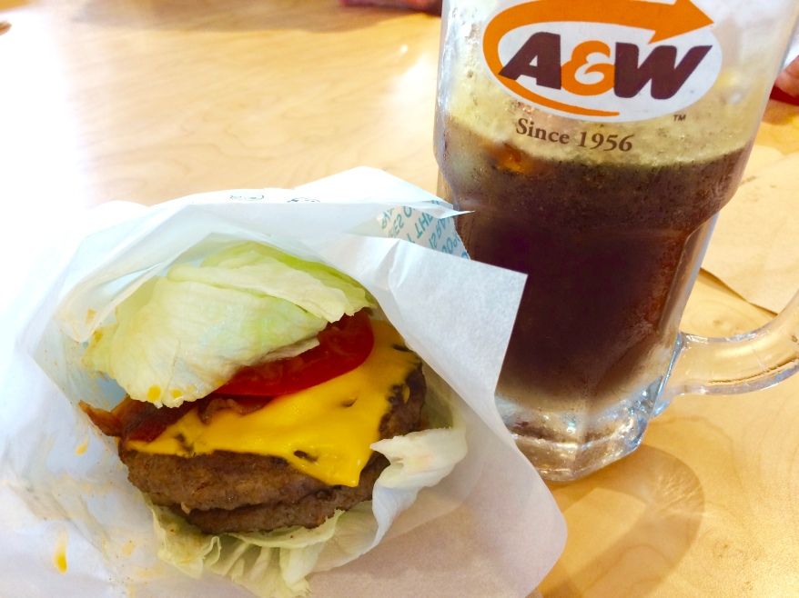 A&W Teen Burger with lettuce wrap instead of a bun