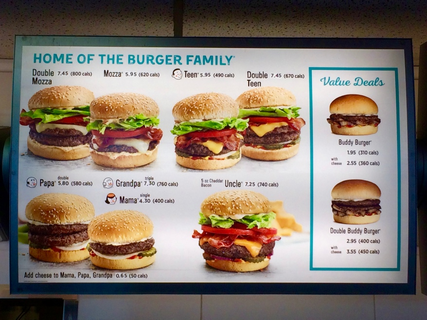 A&W Restaurant Burger Family menu options
