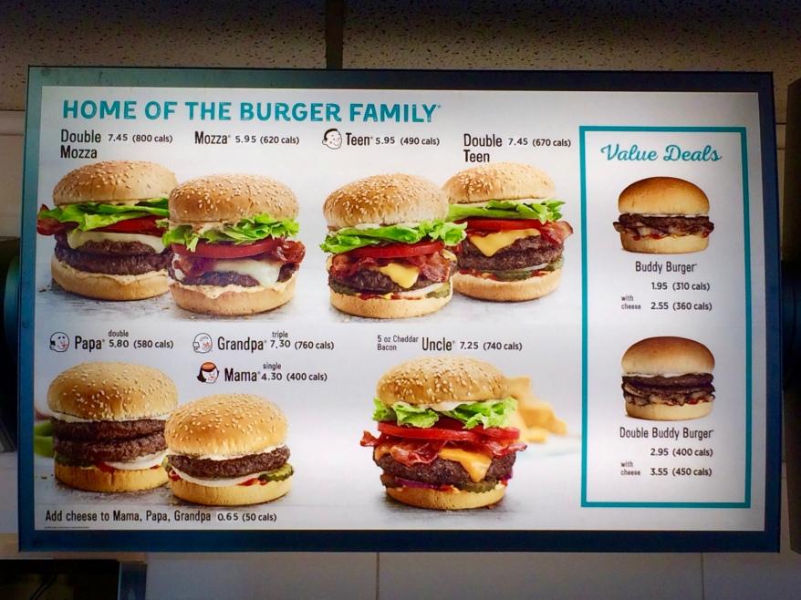 A&W Restaurant Burger Family menu options